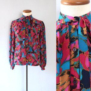 70s vintage floral ruffle ascot tie slouchy blouse